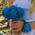 felt flower bouquet and wrist corsage