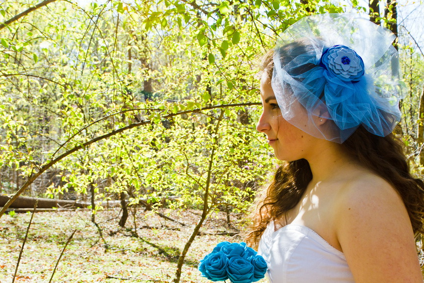 felt flower fascinator with veil